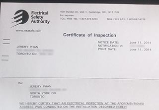 Electrical Safety Authority Inspection Certificate